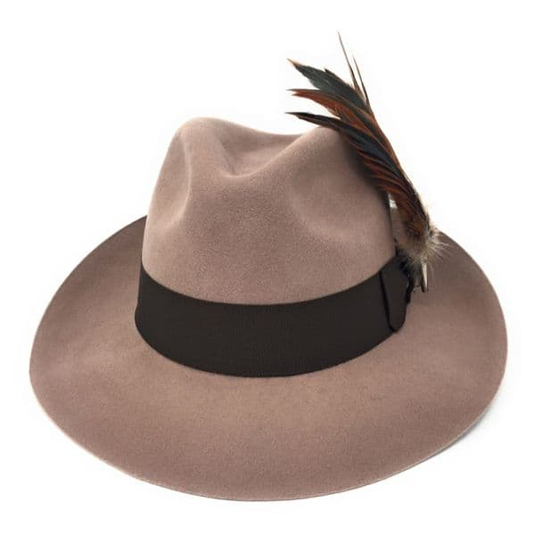 Beige Snap Brim Fedora Hat with Country Feather Brooch - Chedworth